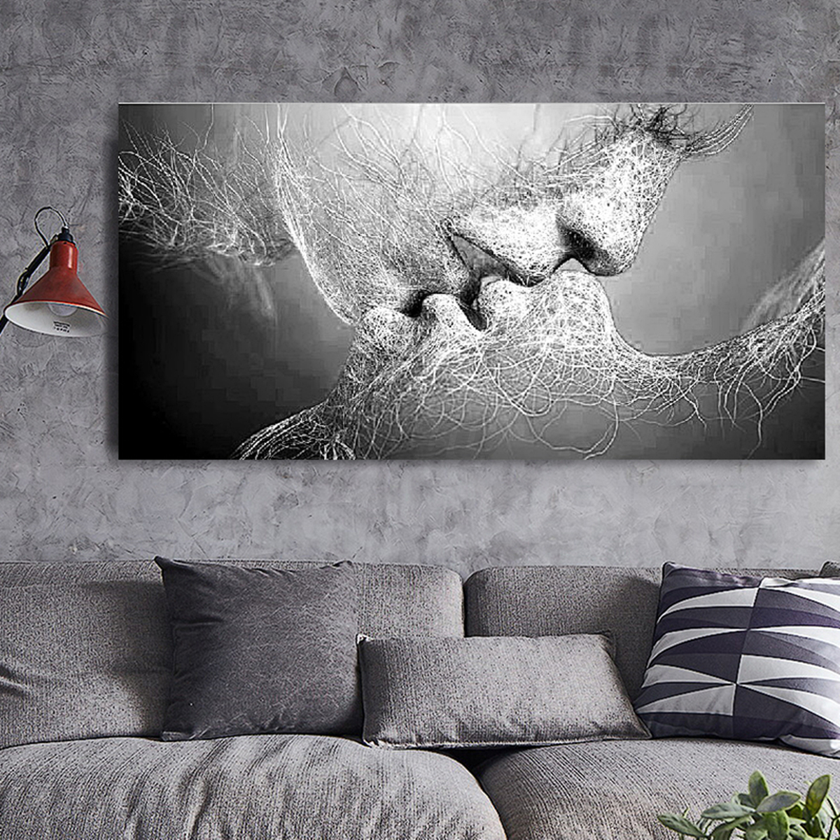 Black Amp White Love Kiss Abstract Art On Canvas Painting