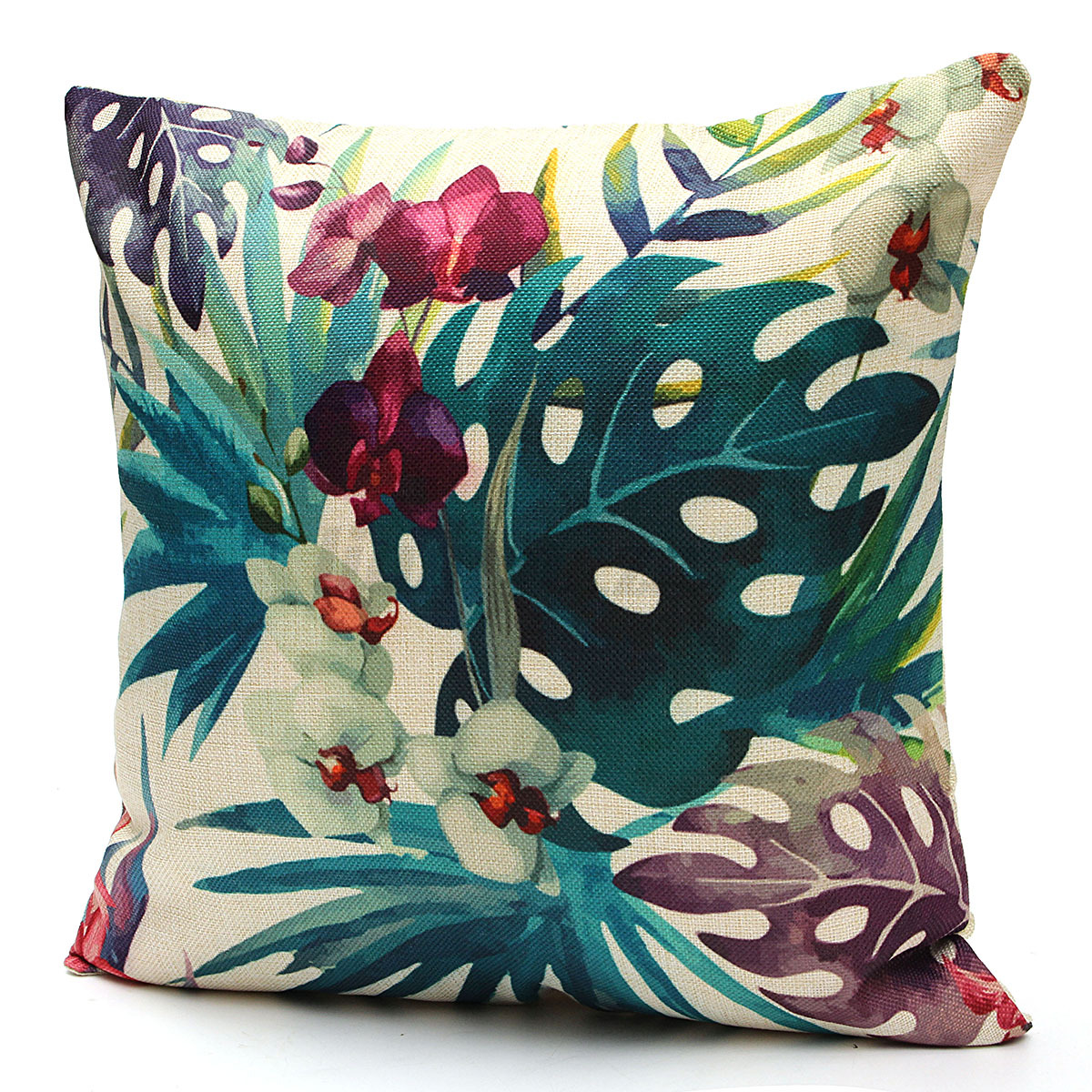 tropical sofa slipcovers how to steam clean floral plant leaf cushion covers throw pillow