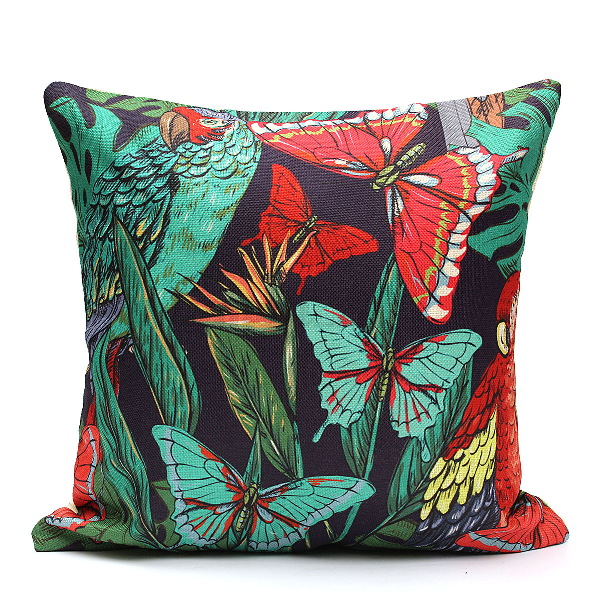 tropical sofa throw cover tan microfiber brown vinyl sectional floral plant leaf cushion covers pillow