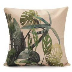 Tropical Sofa Throw Cover 46 Deep Plants Plam Green Leaves Linen Pillow Case
