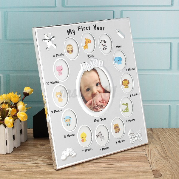 Year Baby Collage Frame 12 Months Birth Christening