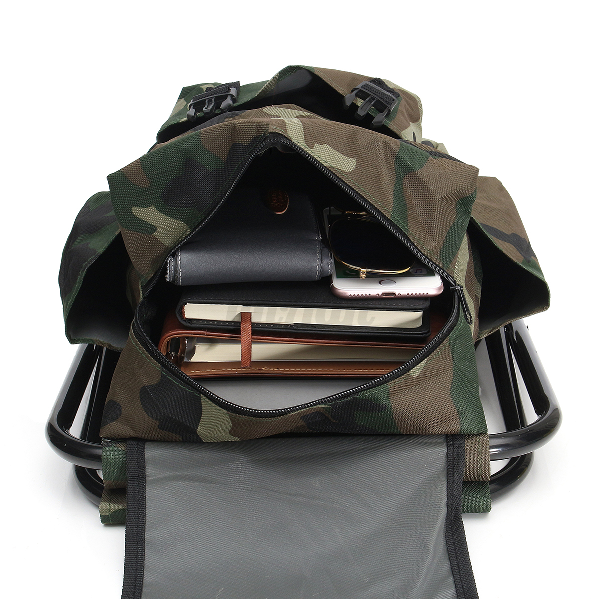 fishing backpack chair leather and a half sleeper foldable stool seat multi function