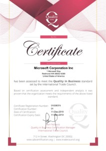 Quality in Business Certificate - International Trade Council