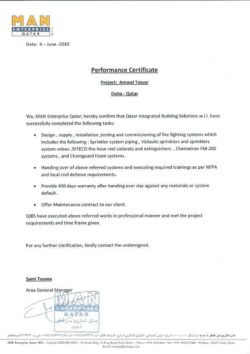 MAN Enterprise Qatar Performance Certificate