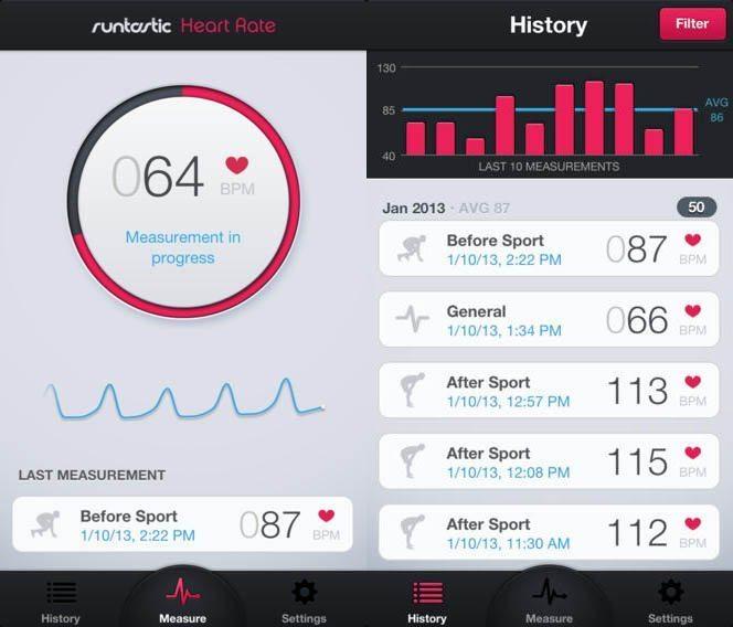 App para monitorear tu pulso en iPhone — Runtastic Heart Rate Monitor