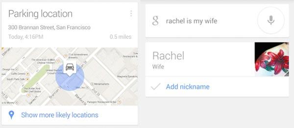 Google Now estacionamiento