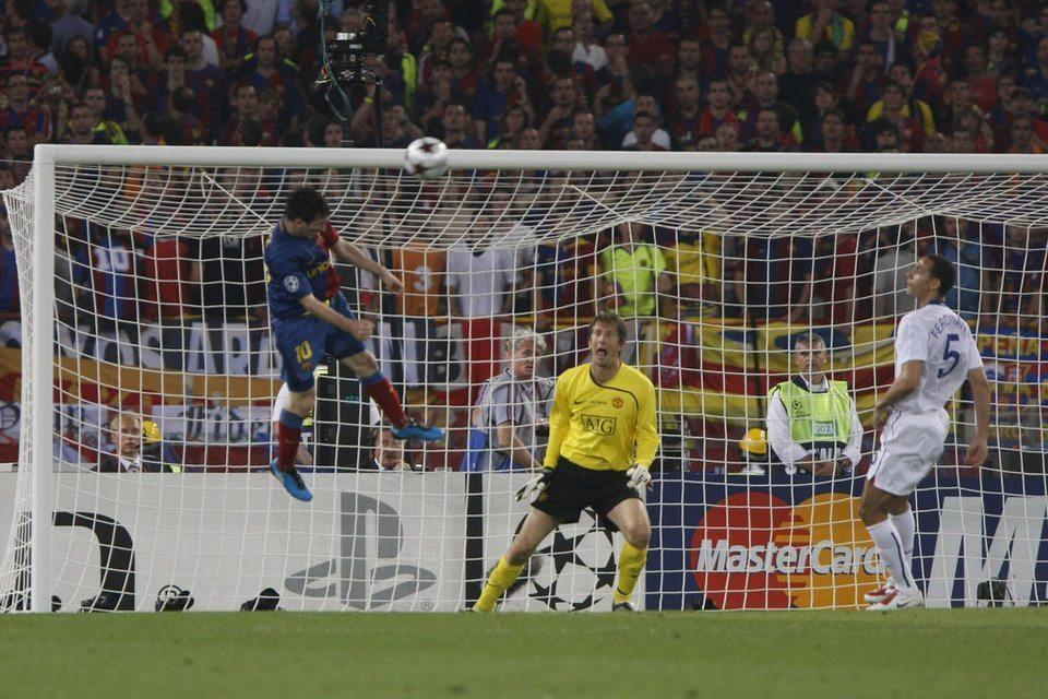 Estadio Olímpico de Roma. Messi conecta el 2-0, batiendo a Edwin Van Der Saar