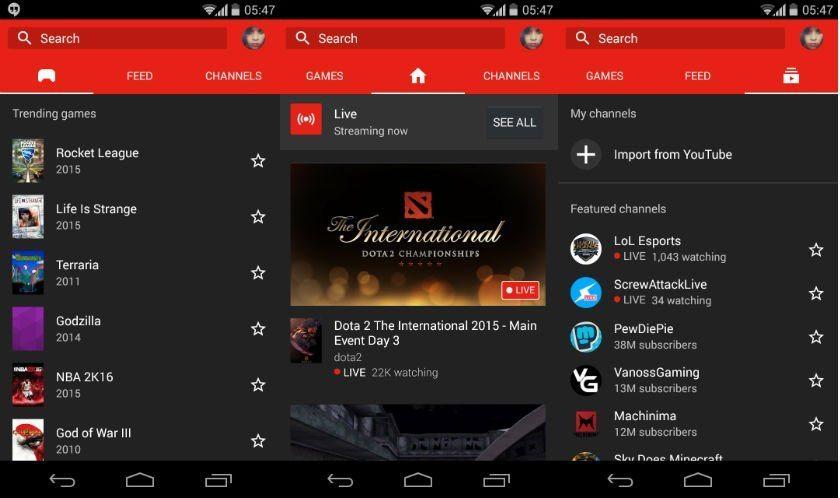 Aplicación YouTube Gaming para Android