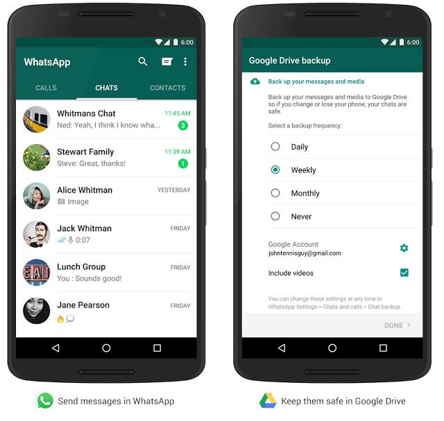 WhatsApp y Google Drive copias de seguridad