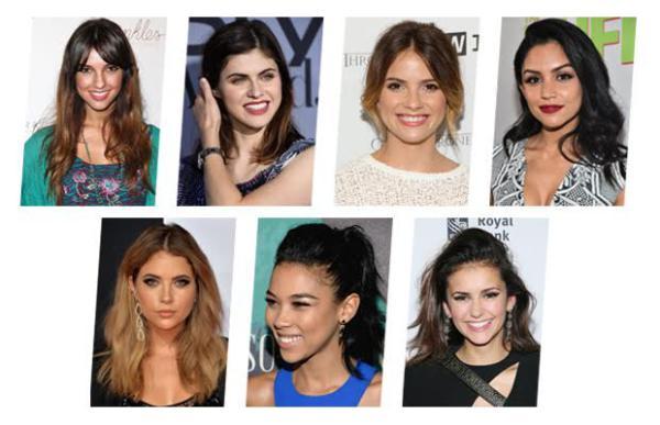 De arriba izquierda: Denyse Tontz / Alexandra Daddario / Shelley Hennig / Bianca Santos / Ashley Benson / Alexandra Shipp / Nina Dobrev