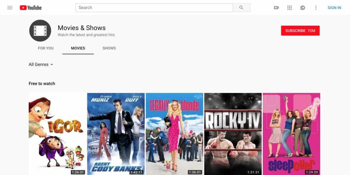 Películas gratis Youtube