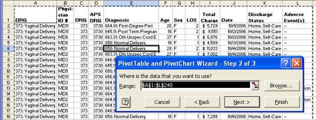 pivot table select data range in Excel