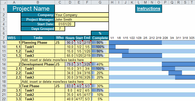 The excel gantt chart template breaks down a project by phase and task, noting who's responsible, task start and end date, and percent completed. Gantt Chart Template For Excel Gantt Chart Software