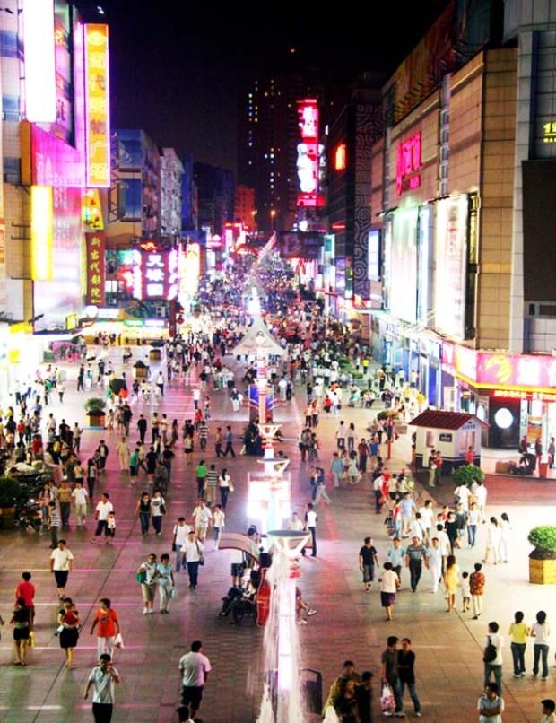 Shopping Qingdao Taidong Pedestrian Street At Night