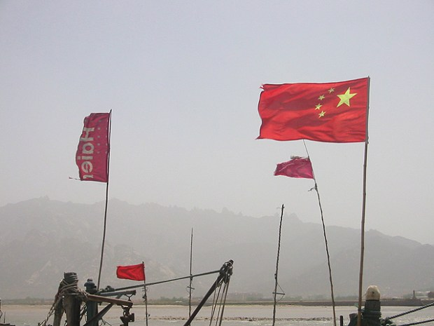 Qingdao Photos Clay Army V Boats Flags Yangkou PRC Haier