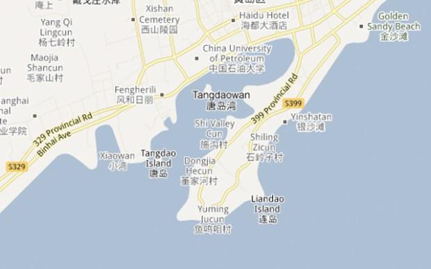 Huangdao Qingdao Map Golden Sand Beach