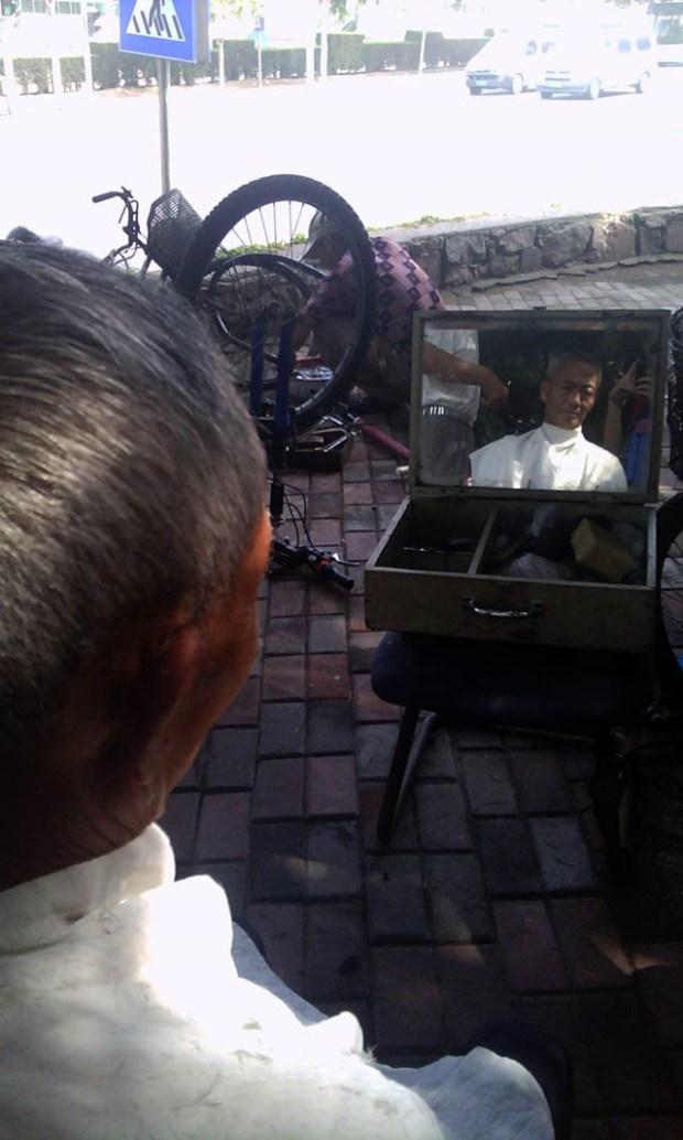 Roadside Barber Qingdao, China Mirror