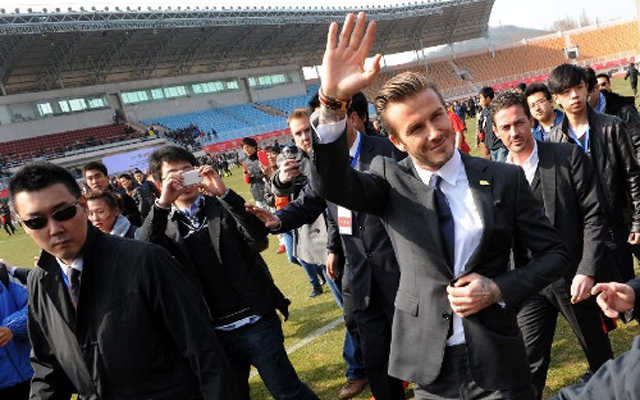David Beckham in Qingdao Tiantai Stadium