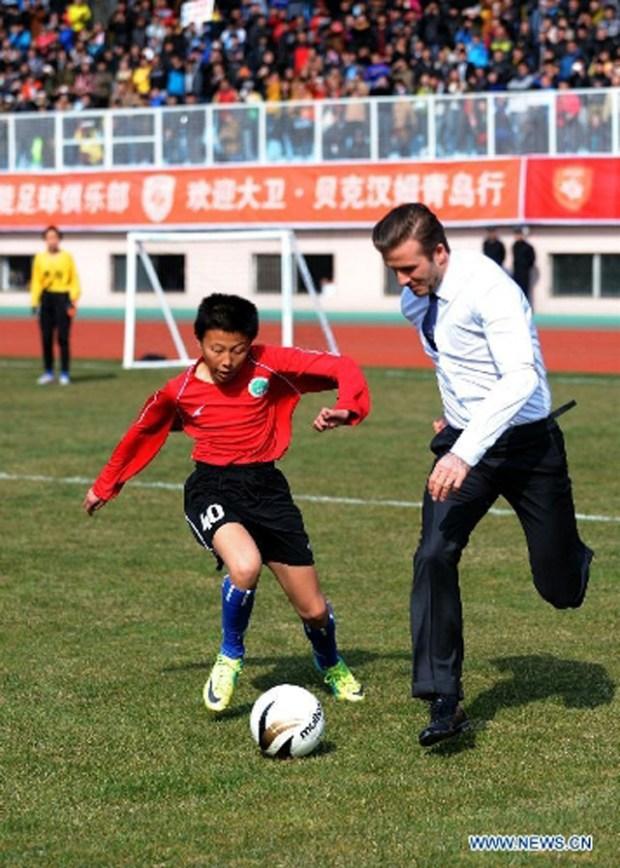 David Beckham in Qingdao Tiantai Stadium Youth