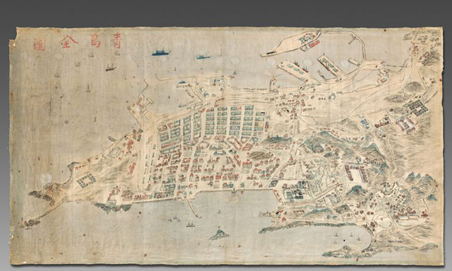 Aerial Qingdao Map Auction 1910 Germany