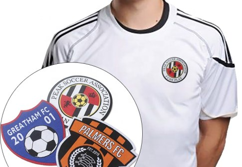 Iron on Custom Soccer Team Name Logo Machine Woven Sport Fabric Patch and Badge for Uniform Clothing