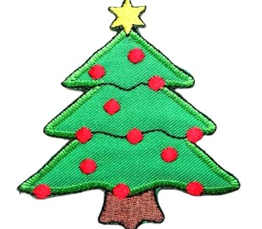 High Quality Custom Iron Embroidery Patch, custom christmas tree Embroidered Patch