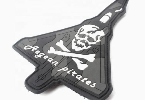 Custom Skull Logo Military Soft PVC Rubber Patches with Hook and Loop