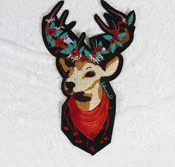 New Big Applique Christmas Deer Chenille Embroidered Patches For Clothing