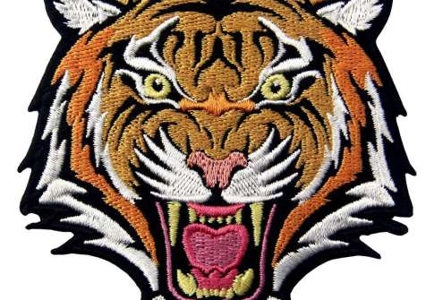 Tiger animal patch High Quality Custom patches Appliqued embroidery clothing ceo-friendly 3D iron on patches