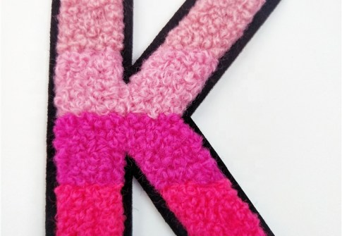 Custom Colorful 26 Alphabet K Letter Embroidery Sticker Chenille Patches For Garment