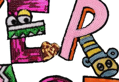 Stock Iron on Embroidered cartoon design Letter Big Sequin Patches for clothing