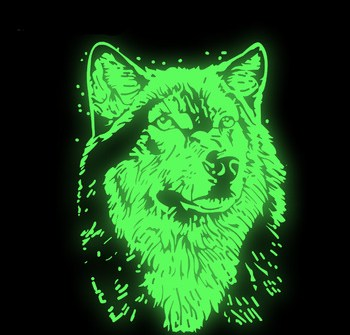 30x22cm Luminous Wolf Head T-shirt Press Sticker Washable Iron On Transfers Patches For Man T Shirt Hoodies