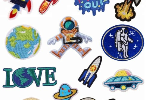 embroidered patches for kids earth Planet space patch for clothes
