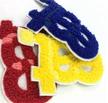 custom logo embroidery towel chenille letter patch embroidery with china factory