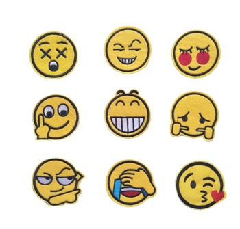 Face Expression Iron On Patches High quality Embroidered Applique Sewing Clothes Stickers Garment Apparel Accessories Badges