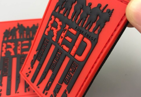 custom color silicone label made embossed logo PVC rubber patch