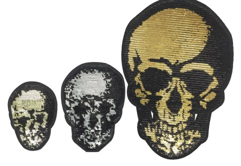 Death Head Sugar Skull Embroidery Sequin Patches  1 buyer