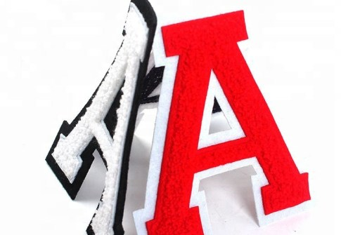 Cheap Sew on Custom 3D Letter Logo Applique Embroidered Felt Chenille Patches Letters for Clothing