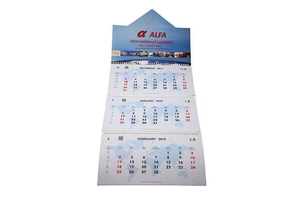 3-month wall calendars