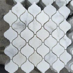 travertine kitchen backsplash home depot unfinished cabinets tile square mixed glasls chips 比安科carrarra白色大理石厨房瓷砖后挡板瓷砖