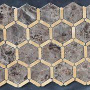 travertine kitchen backsplash narrow base cabinet marble tile hexagon beige shower qinyuan stone floor tiles bathroom gold dark emperador