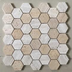 Travertine Kitchen Backsplash Table White Marble Tile Hexagon Beige Shower Qinyuan Stone 大理石瓷砖六角砖石灰华瓷砖淋浴
