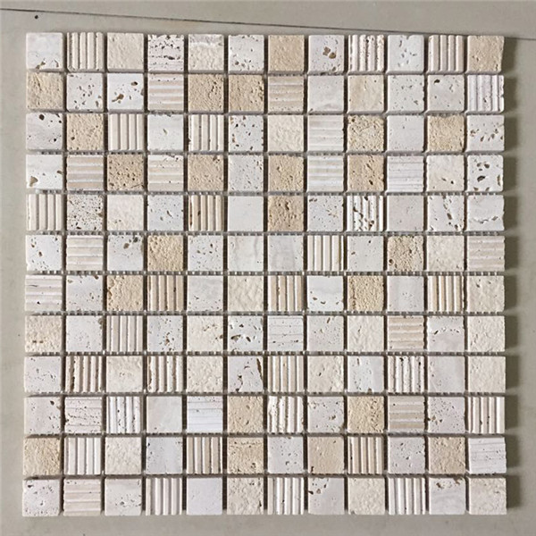 travertine kitchen backsplash cool knives tile square mixed glasls chips 后挡板瓦方洞石瓷砖