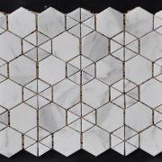 travertine kitchen backsplash remodeling cabinets marble tile hexagon beige shower qinyuan stone bianco carrarra triangle