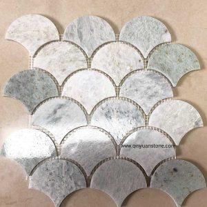 travertine kitchen backsplash island with cooktop fan shape mosaic tile green onyx qinyuan stone 适用于地板 浴室瓷砖 厨房后挡板
