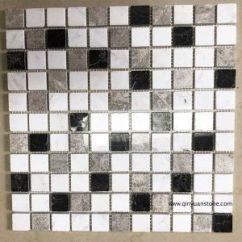 Travertine Kitchen Backsplash Island Light Fixture Square Mosaic Tile Qinyuan Stone Part 2 广场马赛克瓷砖的厨房后挡板
