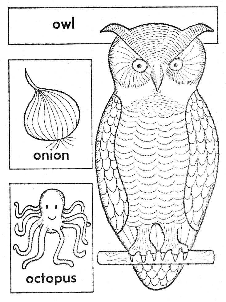 ABC Embroidered Quilt Block – Owl