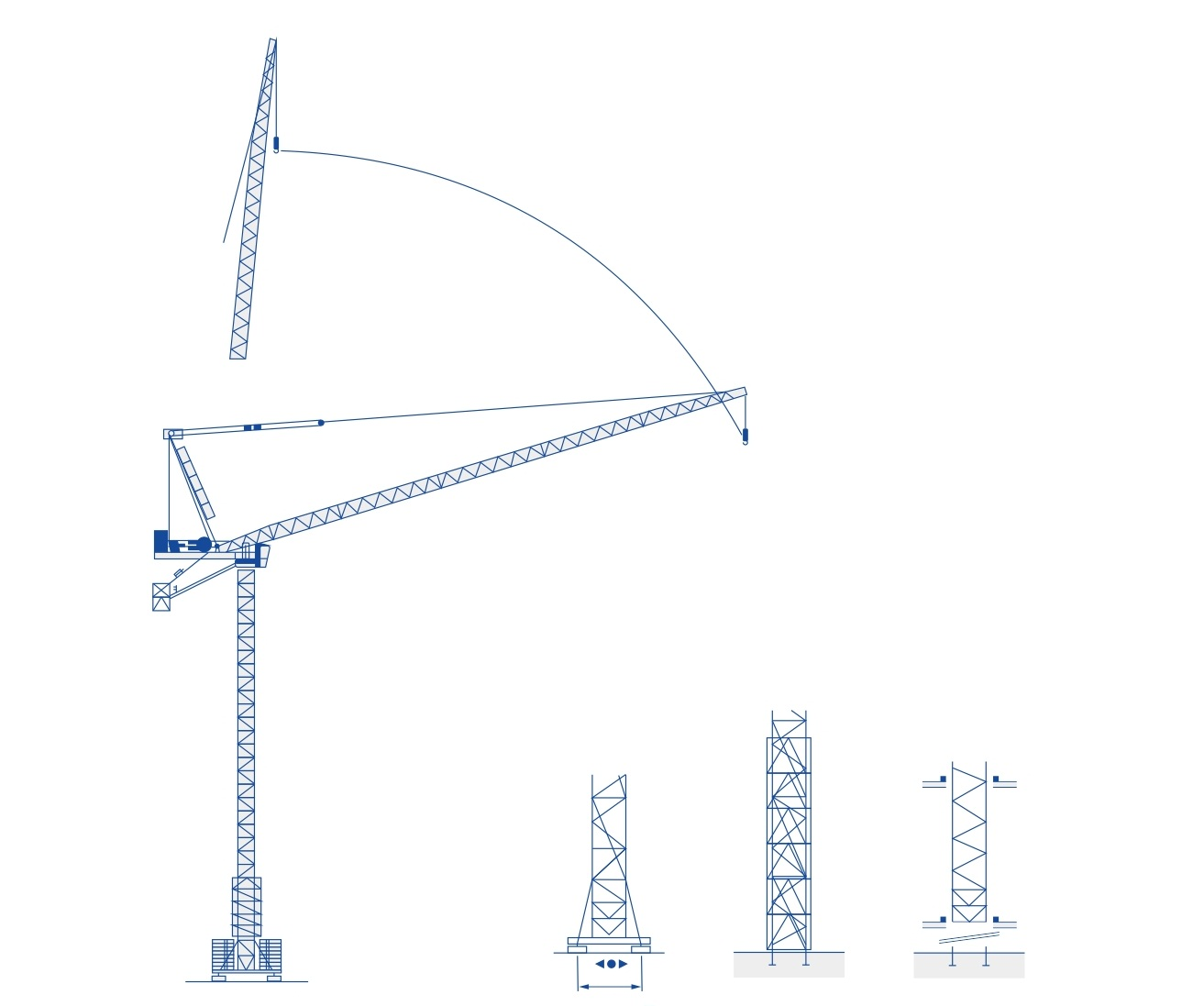 hight resolution of luffing jib tower crane qd5523