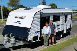 Karen and David, taking possession of their brand new La Vista Fiesta 21 foot caravan. A dream which has come true.