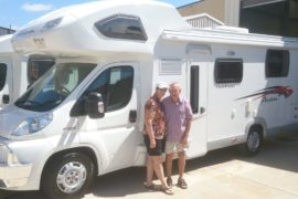 Lorraine and Des ready for the road in their brand new Avan Ovation M8 motorhome. Happy travels to you both.